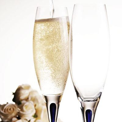 Orrefors Intermezzo Blue Champagne Flute, Single