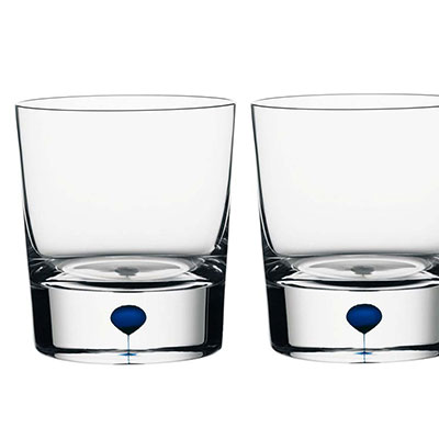 Orrefors Intermezzo Blue Old Fashioned, Pair