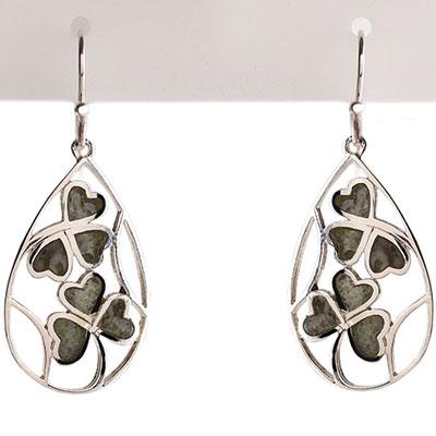 Cashs Sterling Silver and Connemara Marble Lucky Shamrocks Earrings Pair