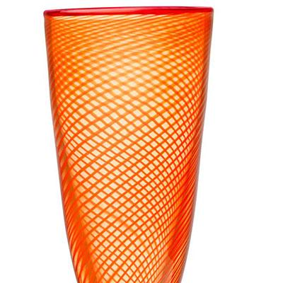 """Kosta Boda Red Rim Orange Footed 10 1/2"""" Vase"""