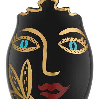 Kosta Boda Open Minds Black and Gold Vase, Limited Edition