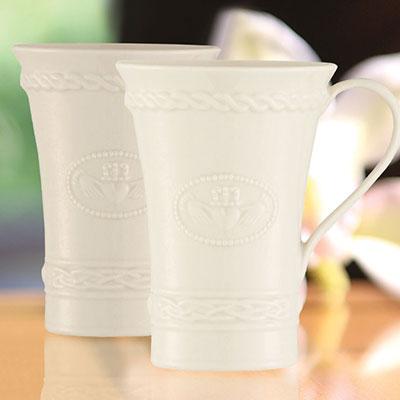Belleek China Claddagh Latte Mugs, Pair