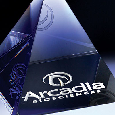 """Crystal Blanc, Personalize! Optic Pyramid Paperweight 3"""""""