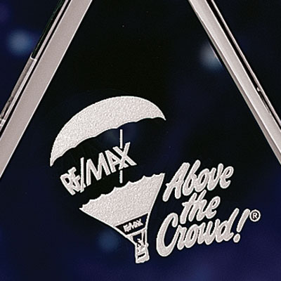 "Crystal Blanc, Personalize! 8"" Pyramid Award"