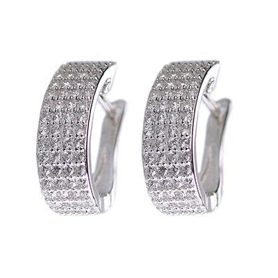 Cashs Crystal Pave Sterling Silver Flat Hoop Pierced Earrings, Pair