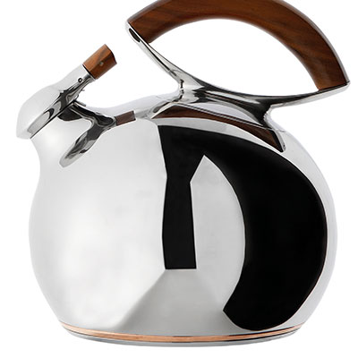 Nambe Metal and Wood Gourmet Bulbo Kettle