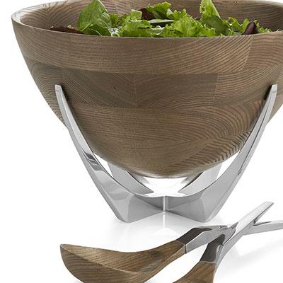 Nambe Metal and Wood Cabo Salad Bowl w/ Servers