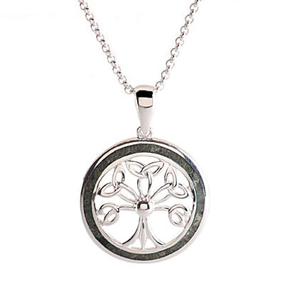Cashs Sterling Silver and Connemara Marble Tree of Life Pendant Necklace