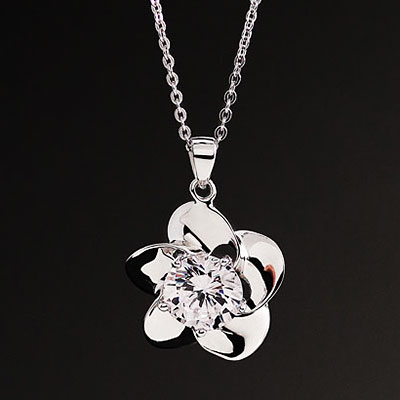 Cashs Crystal Sterling Silver Irish Rose Solitaire Pendant Necklace