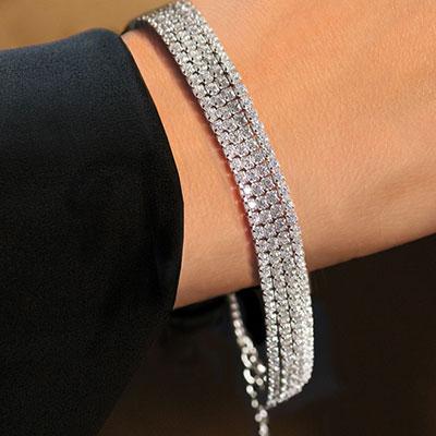 Cashs Sterling Silver Diamante Soft Bracelet