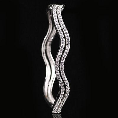 Cashs Crystal Pave Sterling Silver Double Wave Hinged Bracelet