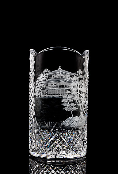 """Waterford House of Waterford Pagoda 12"""" Engraved Vase"""