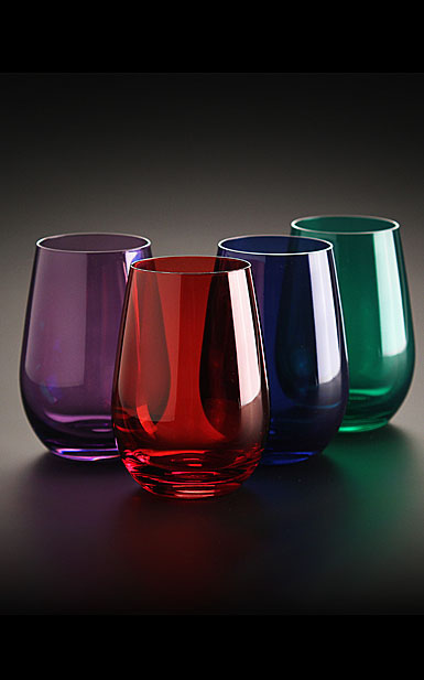 Marquis by waterford vintage jewels colored stemless wine set of 4 - Waterford colored wine glasses ...