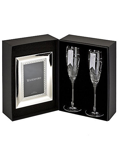 Waterford Bridal Wedding Vows Flutes, Free Picture Frame Gift Set