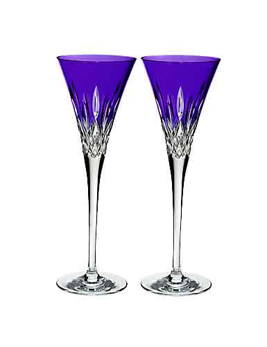 Waterford Lismore Pops Purple Toasting Flute, Pair
