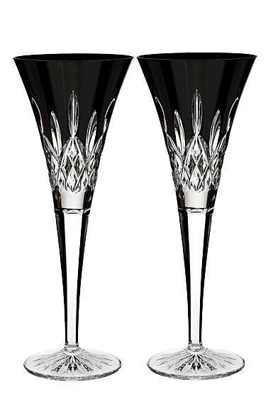 Waterford Lismore Black Flute, Pair