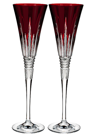 Waterford Lismore Diamond Red Toasting Flute, Pair