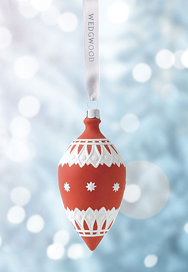 Wedgwood 2017 Neoclassical Teardrop Red Ornament