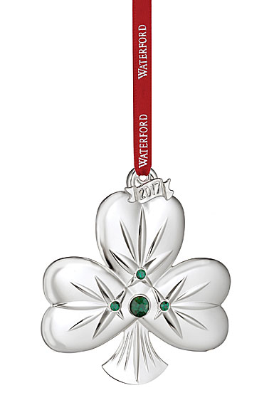 Waterford 2017 Silver Shamrock Ornament