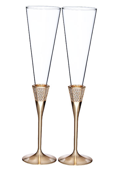 Waterford Lismore Diamond Gold Toasting Flute, Pair