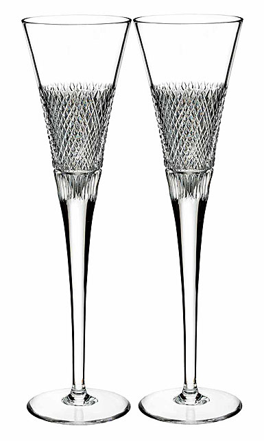 Waterford Diamond Line Flute, Pair