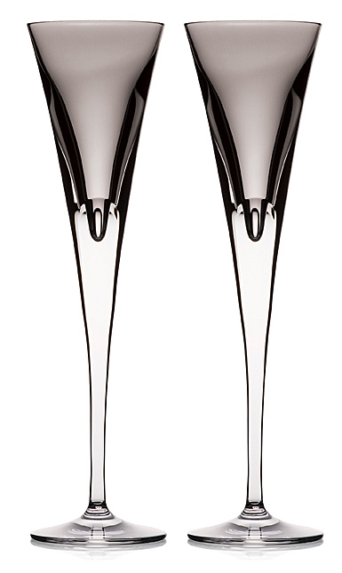 Waterford W Shale Toasting Flutes, Pair