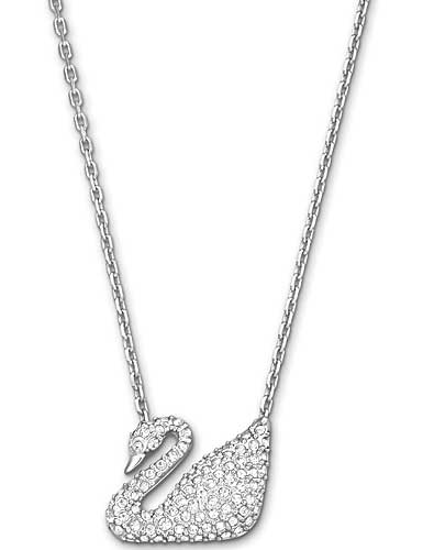 Swarovski Rhodium and Crystal Swan Pendant Necklace