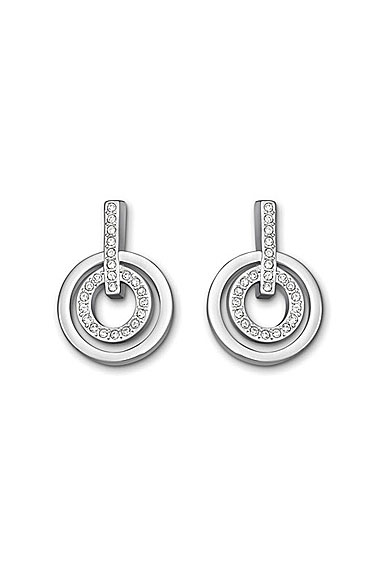 Swarovski Rhodium and Crystal Circle Pierced Earrings