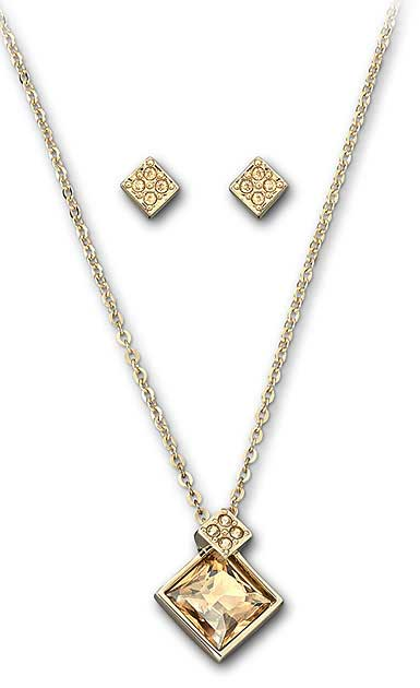 Swarovski Gold and Crystal Honey Necklace and Earring Set