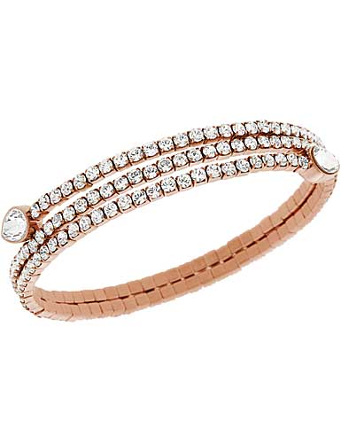 Swarovski Twisty Crystal Drop Pale Rose Gold Bangle Bracelet