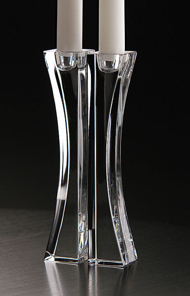 Nambe Crystal Kissing Candlesticks, Pair, 7in