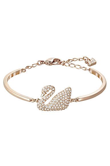 Swarovski Crystal and Rose Gold Swan Bangle Bracelet