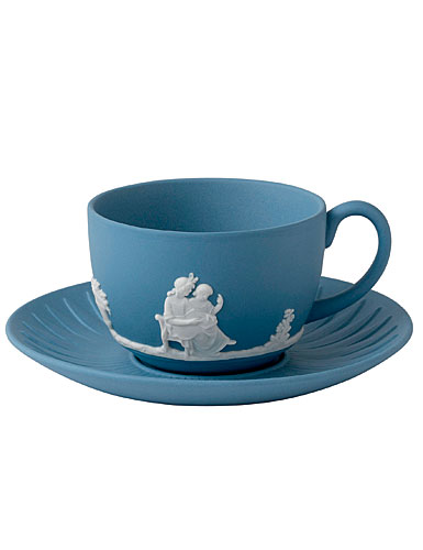 Wedgwood Jasper Classic Teacup & Saucer, White on Pale Blue