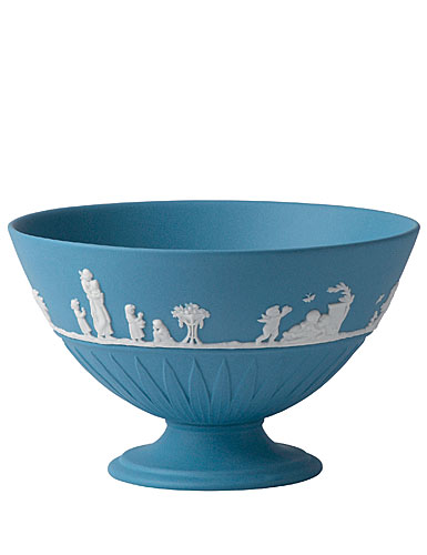 Wedgwood Jasper Classic Footed Bowl, White on Pale Blue