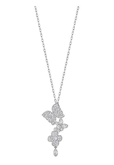 Swarovski Eden Crystal and Rhodium Butterfly and Flower Pendant Necklace