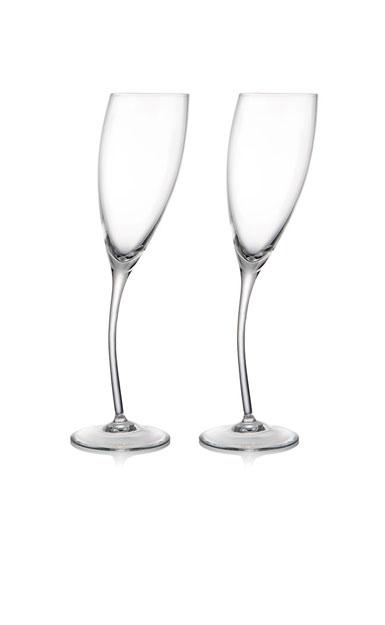Nambe Crystal Tilt Wine Flute - Pair