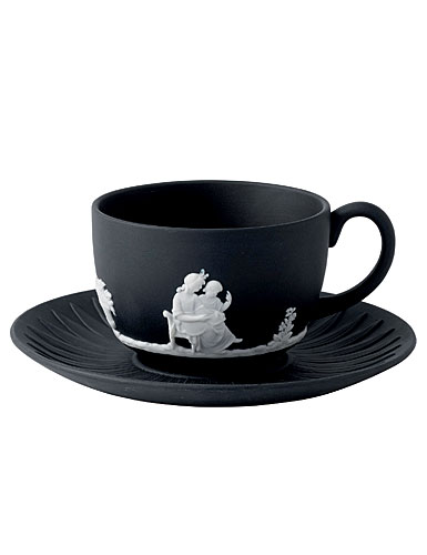 Wedgwood Jasper Classic Teacup & Saucer, White on Black
