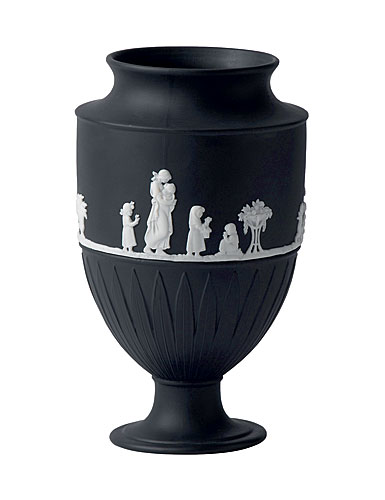 Wedgwood Jasper Classic Vase, White on Black