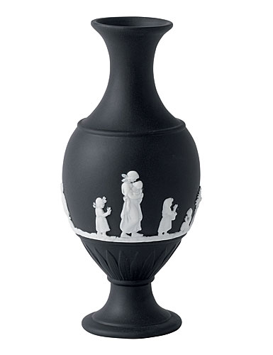 Wedgwood Jasper Classic Bud Vase, White on Black