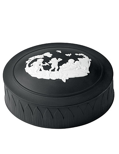 Wedgwood Jasper Classic Trinket Box, White on Black