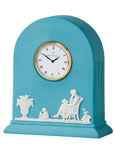 Wedgwood Jasper Classic Clock, White on Turquoise