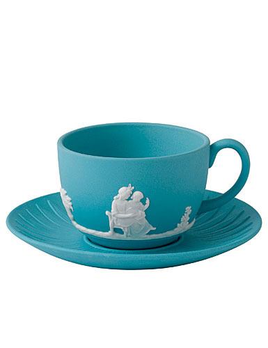 Wedgwood Jasper Classic Teacup & Saucer, White on Turquoise