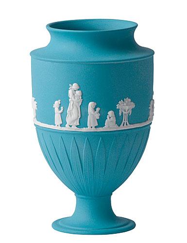 Wedgwood Jasper Classic Vase, White on Turquoise