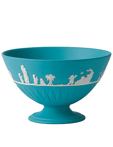 Wedgwood Jasper Classic Footed Bowl, White on Turquoise