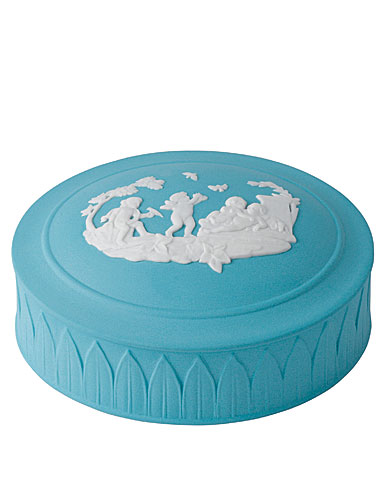 Wedgwood Jasper Classic Trinket Box, White on Turquoise
