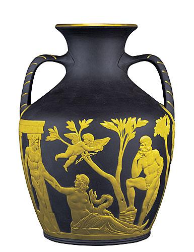 Wedgwood & Bentley Black Basalt L / S Gilded Portland Vase