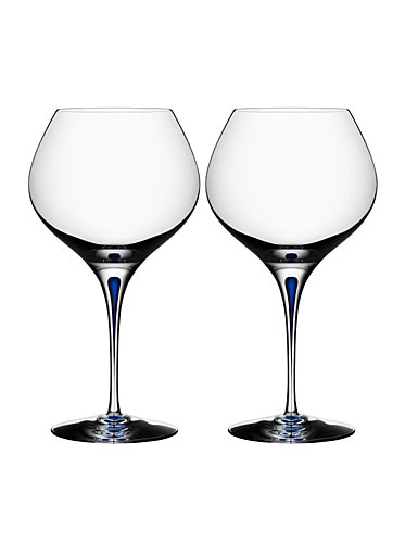 Orrefors Intermezzo Blue Balloon Bouquet Wine, Pair