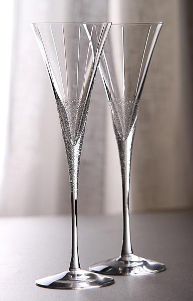 Orrefors Divine Champagne Flutes Pair