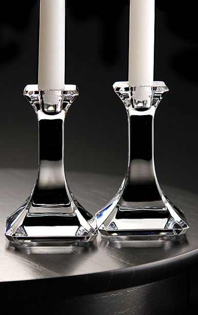 Orrefors Regina Candlesticks Pair, 10 7/8in