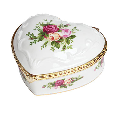 Royal Albert China Old Country Roses, Heart Jewelry Music Box